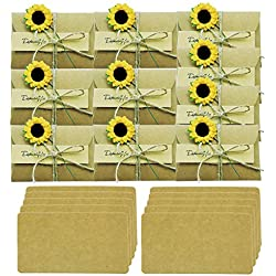 "10 Pack Sunflower Gift Card Holder Greeting Card Wish Card Thank You Notes Birthday Party Invitation Card with envelopes DIY Handmade Vintage Kraft Message Slip Memo Card (2.79""x4.13"")"
