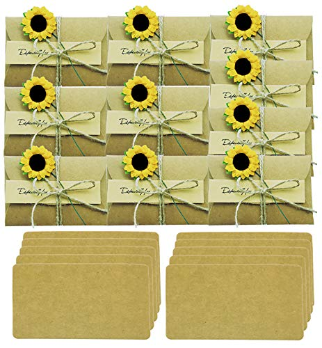10 Pack Sunflower Gift Card Holder Greeting Card Wish Card Thank You Notes Birthday Party Invitation Card with envelopes DIY Handmade Vintage Kraft Message Slip Memo Card (2.79