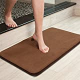 Uphome Memory Foam Bath Rug Anti Slip Grey Plain Ultra Soft and Absorbent Bathroom Shower Mat Door Carpet, Machine Washable, 20''W X 32''L