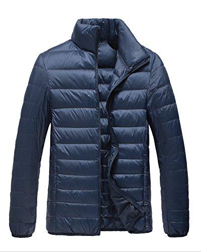 Trensom Men's Lightweight Packable Short Down Jacket Ultralight Winter Zip Puffer Coat Navy Medium