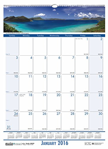 "House of Doolittle 2016 Monthly Wall Calendar, 12"" x 16.5"", Earthscapes Coastlines (HOD329-16)"