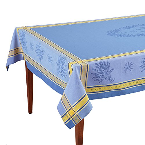 Senanque Bleu French Jacquard Tablecloth, 63 x 79 (4-6 people) by Occitan Imports
