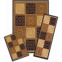 3-Piece Brown/Gold Squares Latex Free Brown Machine-Made Area Rug Set, 100-Percent Polyolefin