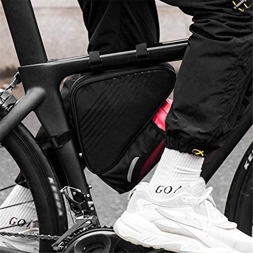 自転車バッグ 自転車フロントバッグ 2パックのスポーツ自転車フレームポーチ反射トライアングルサドルフレームストラップオンポーチバイク収納袋サイクリング用ボトルホルダー ロードバイク/マウンテンバイク/クロスバイク適用 (Color : Black, Size : 1L)