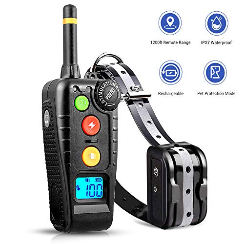 Dog Training Collar, Rechargeable Shock Collar for Dogs with 3 Training Modes, Beep(standard)/Vibration(1-100 level)/Shock(1-100 level) , Up to 1200ft Remote Range and 100% Waterproof Training Collar