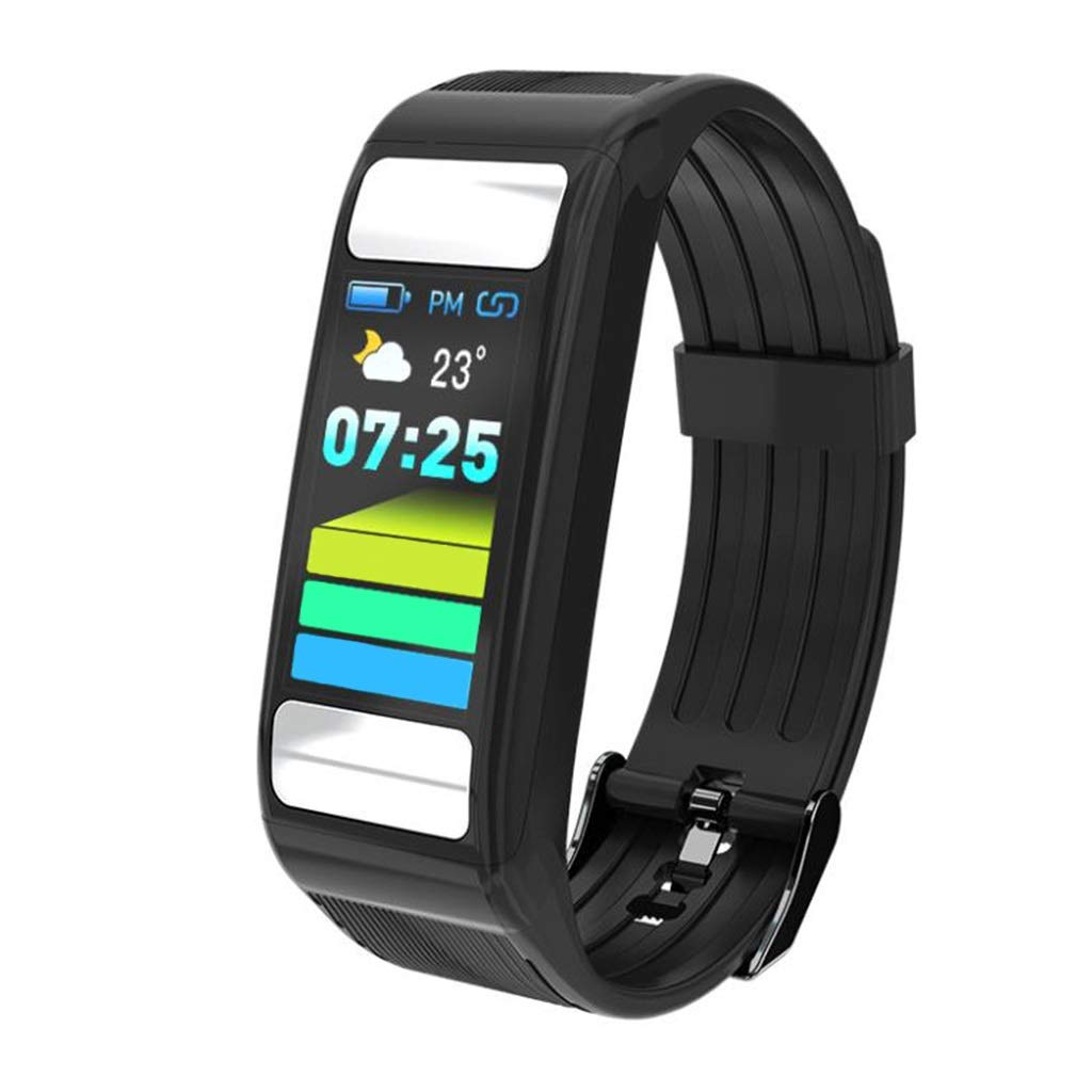 Qiyi Smart Sports Bracelet, Fitness Tracker Heart Rate Monitoring Sports Bracelet, IP67 Waterproof Sleep Monitoring Fitness Smart Sports Bracelet (Color : Black)