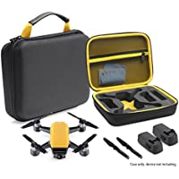 Compact Protective Case for DJI Spark Mini Quadcopter Drone, Slots for extra batteries and propellers (Black with Sunrise Yellow handle and lining)