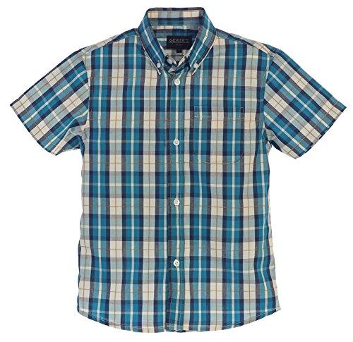 Gioberti Big Boys Plaid Short Sleeve Shirt, Turquoise / Off White, Size 8