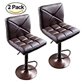 #6: FCH Set of 2 Square PU Leather Barstools Height Adjustable from 24