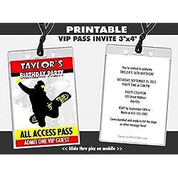 Snowboarding Birthday Party VIP Pass Invitation, Printable