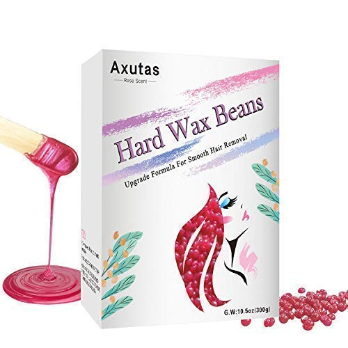 (Hard Wax Beans - Upgraded Natural Ingredient Depilatory Pearl Hot Wax - Painless Hair Removal for Women, Men, Face, Bikini, Legs, Underarm, Chest, Eyebrow (10.5 oz, Rose))