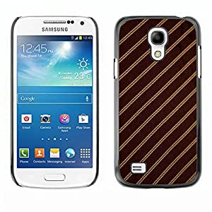 Qstar Arte & diseño plástico duro Fundas Cover Cubre Hard Case Cover para SAMSUNG Galaxy S4 mini VERSION! / i9190 / i9192 ( Stripes Fabric Pattern Design Textile Brown)