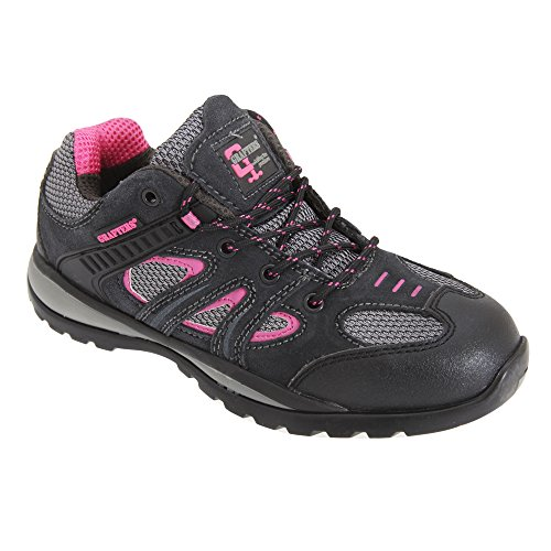 Grafters Womens/Ladies Oil Resistant Safety Trainer Shoes Grey/Fuchsia s7Pk3G60sa