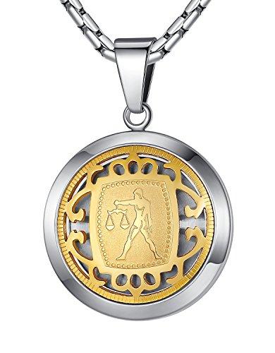 Stainless Steel Libra Zodiac Horoscope Sign Pendant Necklace, Unisex, 21