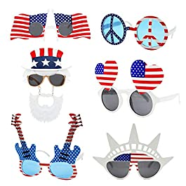 American Flag Glasses USA Patriotic Party Sunglasses Holiday Sunglasses Eyewear for Party Props(6 Pack)