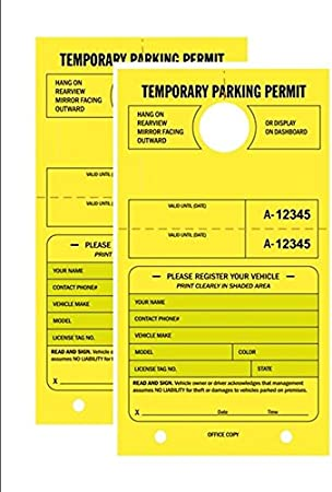 Temporary Parking Permit 1801-1850 Pack of 50 Tags Numbered with Tear-Off Stub Bright Fluorescent Orange 7-3//4 x 4-1//4 Mirror Hang Tags