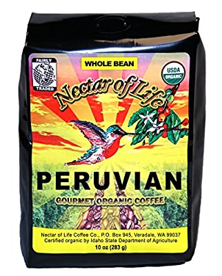 Nectar of Life - SINGLE ORIGIN PERUVIAN COFFEE - Gourmet, Organic Whole Bean Coffee - 100% Organic and Fair Trade - Light/Medium Roast - 10oz Bag