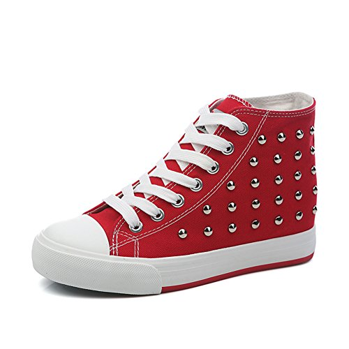 zapatos de lona de mujeres/Otoño punk remache zapatos mujer alta/Mayor sigilo zapatos A