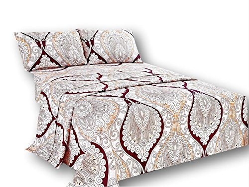 - Tache Paisley Damask Burgundy Ivory Flat Sheet Only - Maroon Mandala - Luxurious Microfiber Top Bed Sheet with Pillowcases - 3 Piece Set - Queen