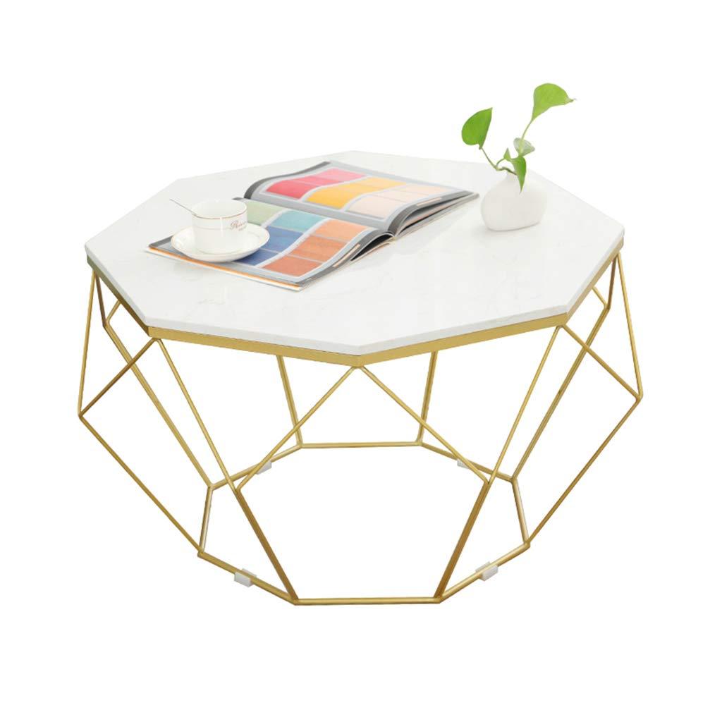 錬鉄製のリビングルームのコーヒーテーブル/サイドテーブル、丸い大理石の卓上パーソナライズ金属製ブラケット、寝室に最適、バルコニー、金色 B07SQZXHKJ