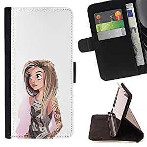 - Queen Pattern FOR HTC One M7 /La identificaci????n del cr????dito ranuras para tarjetas tir????n de la caja Cartera de cuero cubie - girl watercolor hipster white fashion -