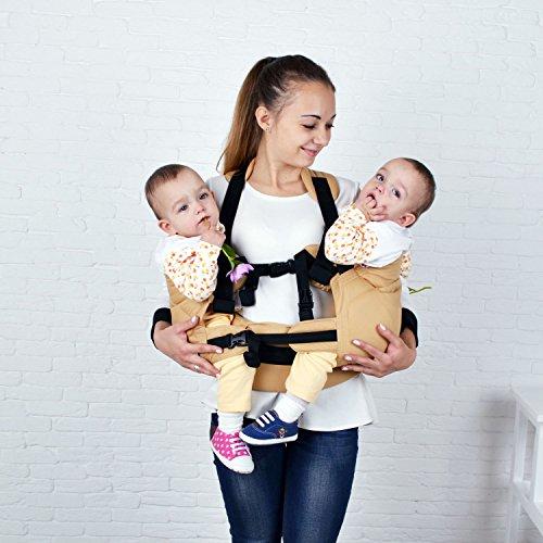 Malishastik Beige Twins Carrier Tandem, Twin Wrap Carrier, Twin Carrier, Twin Baby Carrier, Baby Twins, Twins Carrier