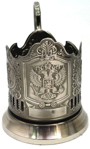 IMPERIAL EAGLE RUSSIAN COAT ARMS TEA GLASS METAL HOLDER CLASSIC GIFT KOLCHUGINO ()