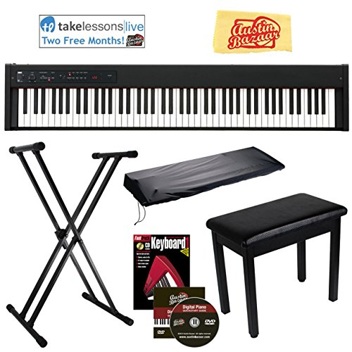 Korg D1 Digital Piano Bundle with Furniture Bench, Adjustable Stand, Dust Cover, Instructional Book, Online Lessons, Austin Bazaar Instructional DVD, and Polishing Cloth