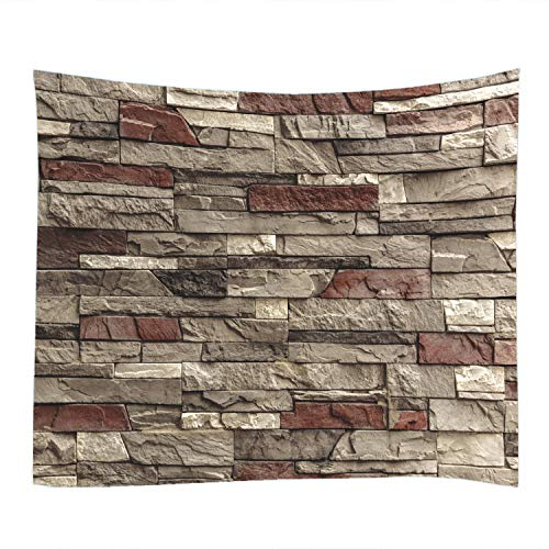 Stone Wall Print Fabric Tapestry Decor Wall Art Tablecloths Bedspread Picnic Blanket Beach Throw Tapestries Colorful Bedroom Hall Dorm Living Room Hanging 79 x 59 inches (Picnic Stone Table)