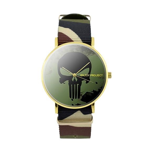 Reloj de pulsera para hombre Mujer Enjoy Project Impresión Calavera Negro Black Skull Eroe fondo verde caja oro correa de tela camuflaje analógica cuarzo: ...