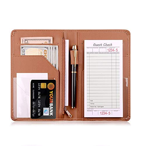 Server Book And Waitress Book Organizer With Server Wallet 9 Pockets Restaurant Receipt with Money Check Holder, Fits in Waitstaff Apron Faux Leather