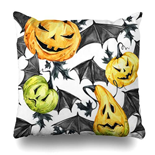 KJONG Watercolor Pumpkins Bat Wings Halloween Holiday Magic Symbol Zippered Throw Pillow Cover,Fashion Square Decorative Pillow Case 18 x 18 Inch 2 Sides Print -