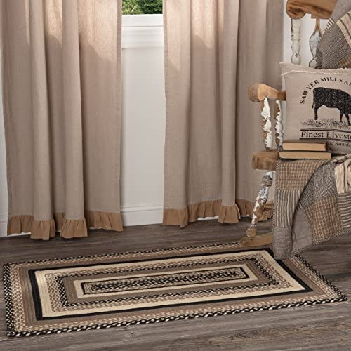 VHC Brands 45743 Farmhouse Flooring Miller Farm Charcoal Jute Rectangle 27×48 Rug, Bleached White