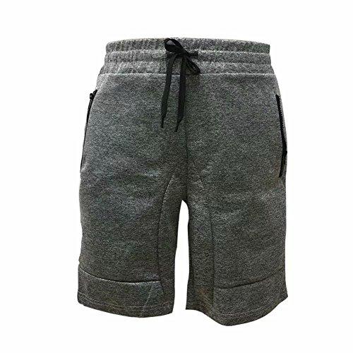 Reasoncool Men's Zipper Pocket Casual Elastic Waist Harem Training Jogger Sport Short Pants