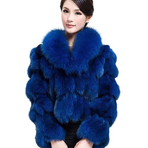 Blue Fox Fur Coat Jacket (Fur Story 010220 Women's Real Fox Fur Coat with Fox Fur Collar Blue US 10)