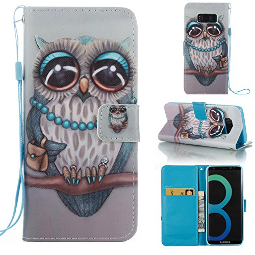 Price comparison product image Galaxy S8 Plus Case,  SAVYOU - Galaxy S8 Plus Phone Case,  Design Dual-Use Flip PU Leather Wallet Flip Magnetic Button Practical Cover Case Stand Cover for Samsung Galaxy S8 Plus OWL