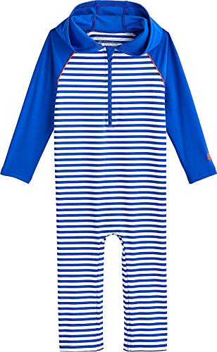 Coolibar UPF 50+ Baby Hooded One Piece Swimsuit - Sun Protective (12-18 Months- Baja Blue ()
