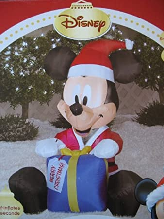 d14298c6e4dfc Disney Christmas Mickey Mouse Ornament LED Airblown Inflatable by Gemmy   Amazon.co.uk  Garden   Outdoors