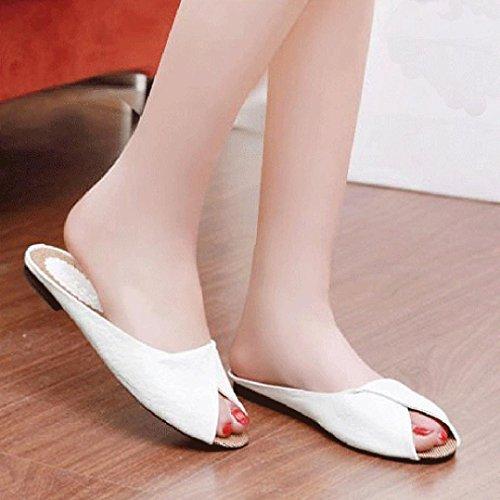 bescita Damen Sommer Sandalen Schuhe Peep Toe Halbschuhe Römischen Sandalen Damen Flip Flops (35, Weiß)