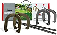 Franklin Sports Horseshoes Set - Includes 4 Horseshoes and 2 Stakes - Beach or Backyard Horseshoe Play - Class