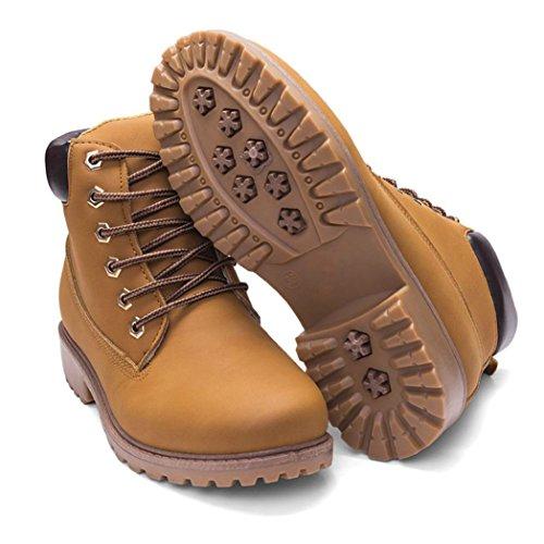 Kaicran Bottes À Lacets Pour Femmes Bottines Pour Femmes Bottes À Plat Chaussures Martin Jaune