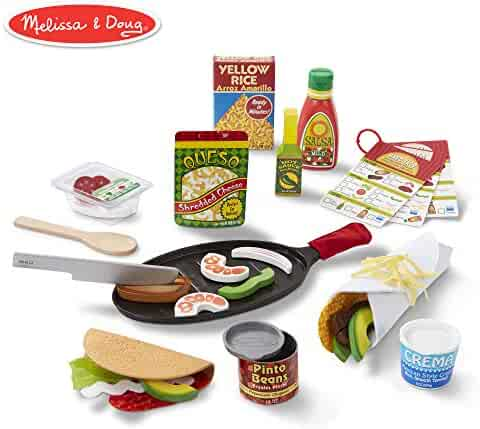 Melissa & Doug Fill & Fold Taco & Tortilla Set (Play Food, Sliceable Wooden Mexican Play Food, Skillet & More, 43 Pieces)