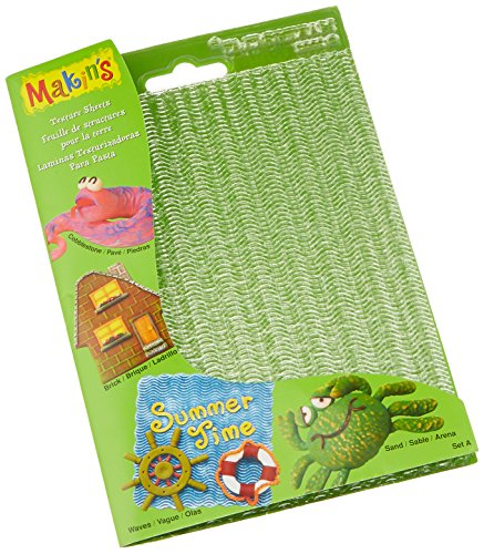 Makin's USA M380-1 Clay Texture Sheets, 7-Inch by 5-1/2-Inch, Cobblestone/Brick/Wave/Sand, 4 Per (Clay Texture Tools)