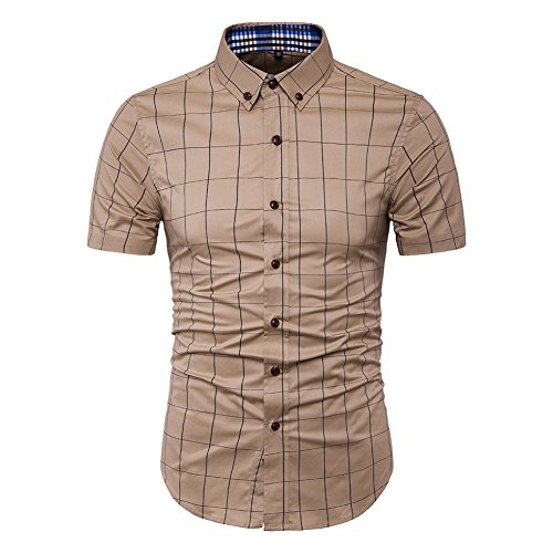 MUSE FATH Short Sleeve Shirt-100% Cotton Plaid Shirt-Easycare Short Sleeve Shirt-Khaki-S