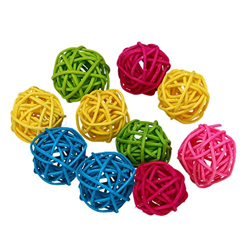 Iainstars 10pcs Parrot Rattan Ball Toys Bird Chewing Toys Birdcage Decor Pet (Medium Sized Parrots)