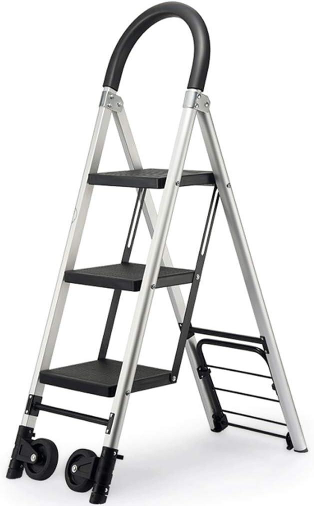 LSJCR Taburete con Escalones Escalera Multifunción Escalera De Engrosamiento De Aluminio Escalera Mecánica Plegable para Uso Interior Y Exterior Carrito con Ruedas taburetes