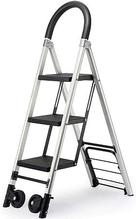 XUQIANG Escalera Multifuncional Escalera de Engrosamiento de aleación de Aluminio Escalera móvil Plegable for Interiores y Exteriores Carrito con Ruedas Tritthocker: Amazon.es: Hogar