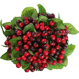 Tatuo Artificial Berries 20 Branches with 240 Pieces 17 mm Fake Holly Berries DIY Christmas Fruit Cherry Branch Party Decoration 46