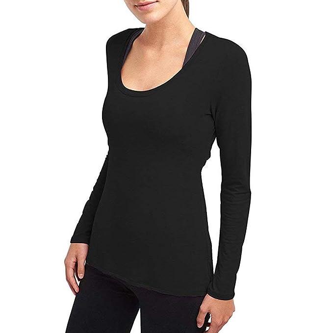 0fec48da30dda Amazon.com  Fainosmny Womens Tops Sports Shirt Sexy Backless Blouse Workout  Yoga Tunic Tees Long Sleeve Sweatshirt Gym T Shirts  Clothing