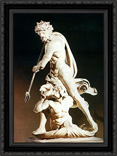 Neptune and Triton 24x18 Black Ornate Wood Framed Canvas Art by Gian Lorenzo Bernini